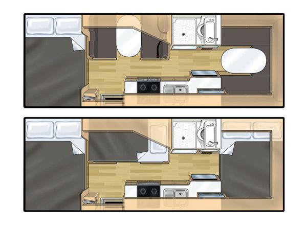 Wohnmobil Koru 6 Bett Aufbau
